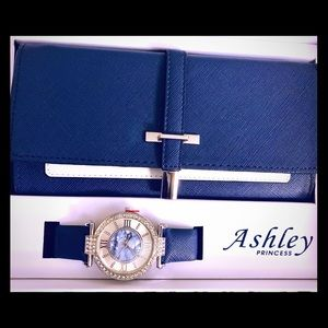 This is a set of Womans wallet with the watch